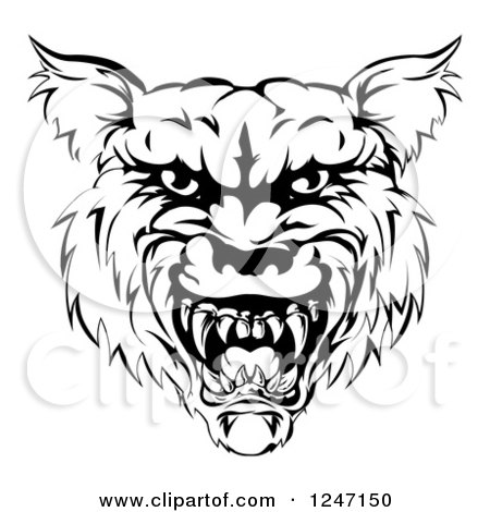 Clipart of a Growling Black and White Vicious Wolf Face - Royalty Free Vector Illustration by AtStockIllustration