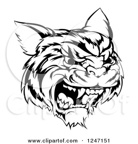 Clipart of a Black and White Hissing Tiger Mascot Head - Royalty Free Vector Illustration by AtStockIllustration
