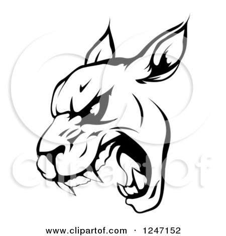 Clipart of a Black and White Roaring Panther Mascot Head - Royalty Free Vector Illustration by AtStockIllustration
