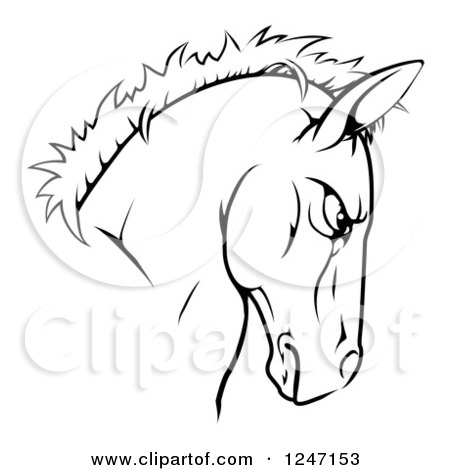 Clipart of a Tough Black and White Horse Head Mascot - Royalty Free Vector Illustration by AtStockIllustration