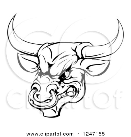 Clipart of a Black and White Aggressive Snarling Bull - Royalty Free Vector Illustration by AtStockIllustration