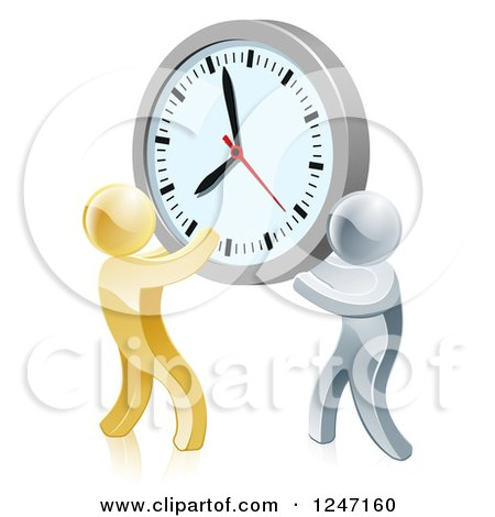 Clipart of 3d Gold and Silver Men Holding up a Clock - Royalty Free Vector Illustration by AtStockIllustration