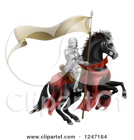 Clipart of a 3d Armoured Knight on a Black Steed, with a Ribbon Banner Flag - Royalty Free Vector Illustration by AtStockIllustration