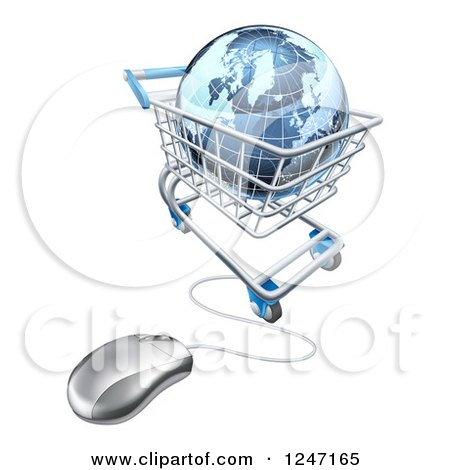 Clipart of a 3d Blue Earth Globe in a Computer Shopping Cart - Royalty Free Vector Illustration by AtStockIllustration