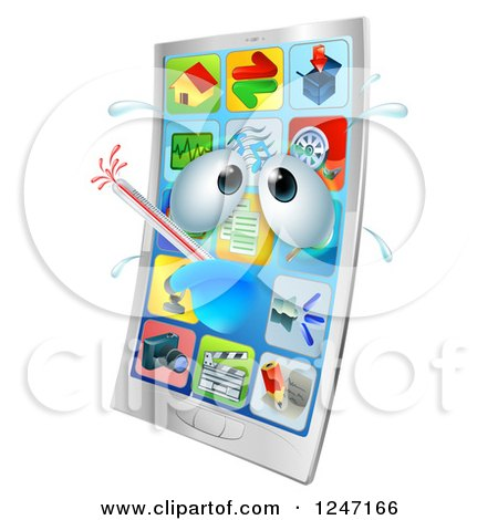 Clipart of a 3d Smart Phone Sick with a Fever - Royalty Free Vector Illustration by AtStockIllustration