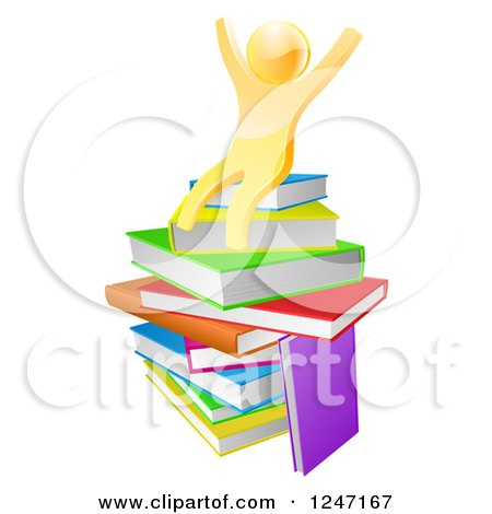Clipart of a 3d Gold Man Sitting on a Stack of Books and Cheering - Royalty Free Vector Illustration by AtStockIllustration
