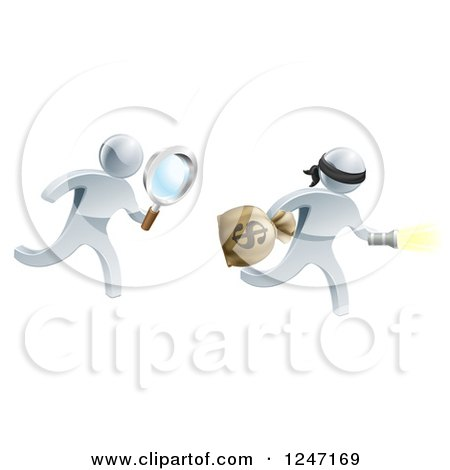 Clipart of a 3d Silver Detective Chasing a Robber with a Magnifying Glass - Royalty Free Vector Illustration by AtStockIllustration