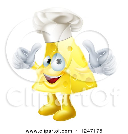 Clipart of a Happy Cheese Chef Holding Two Thumbs up - Royalty Free Vector Illustration by AtStockIllustration