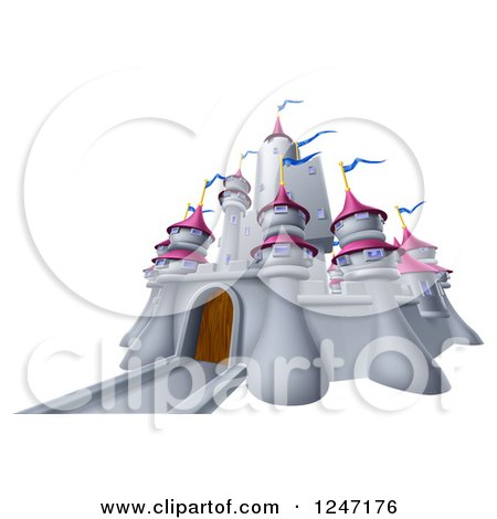 Clipart of a Gray Castle with Pink Turrets and Blue Flags - Royalty Free Vector Illustration by AtStockIllustration