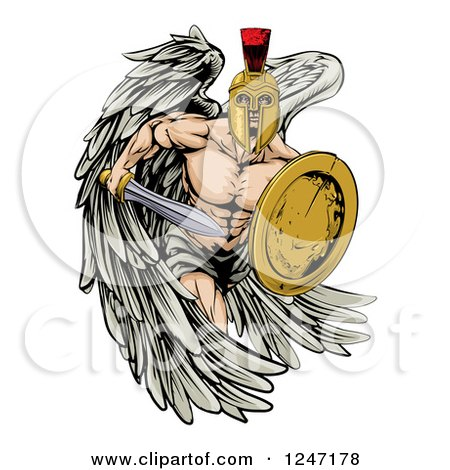 Clipart of a Spartan Trojan Warrior Guardian Angel with a Sword and Shield - Royalty Free Vector Illustration by AtStockIllustration