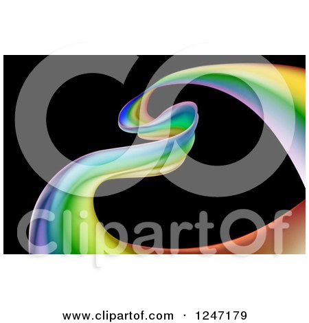 Clipart of a Colorful Ribbon Forming a Heart over Black - Royalty Free Vector Illustration by AtStockIllustration
