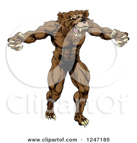 Clipart of a Muscular Vicious Bear - Royalty Free Vector Illustration by AtStockIllustration