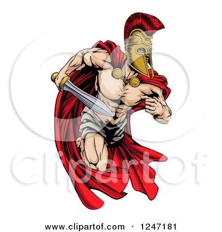 Clipart of a Musular Spartan Trojan Warrior Mascot Running with a Sword - Royalty Free Vector Illustration by AtStockIllustration