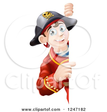 Clipart of a Happy Young Pirate Captain Looking Around and Pointing to a Sign - Royalty Free Vector Illustration by AtStockIllustration