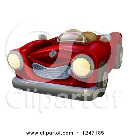 Clipart of a Cartoon Red Vintage Convertible Car - Royalty Free Vector Illustration by AtStockIllustration