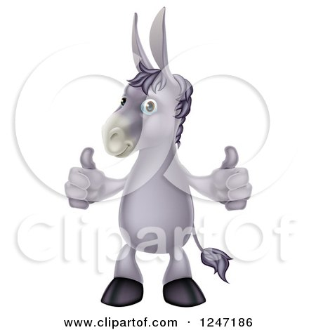 Cartoon Donkey Standing and Holding Two Thumbs up Posters, Art Prints