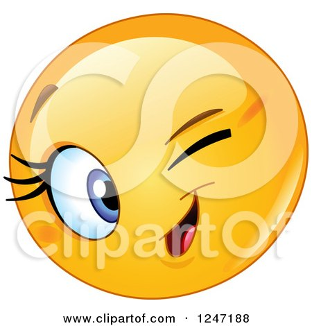 Clipart of a Round Yellow Female Emoticon Winking - Royalty Free Vector Illustration by yayayoyo