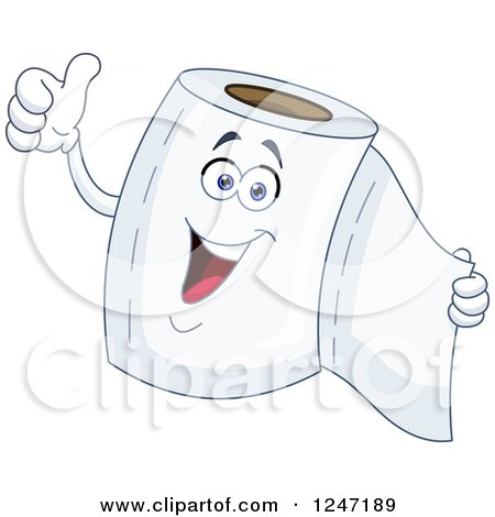 Clipart of a Happy Toilet Paper Character Giving a Thumb up - Royalty Free Vector Illustration by yayayoyo