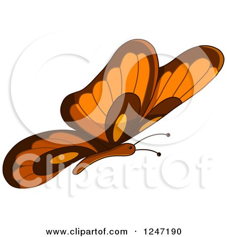 Clipart of a Brown and Orange Butterfly in Flight - Royalty Free Vector Illustration by yayayoyo