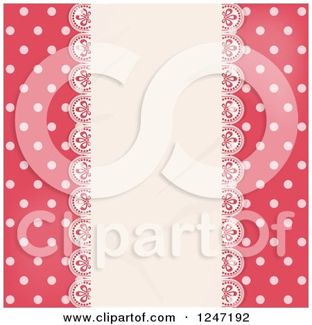Clipart of a Pink Polka Dot Background with a Lace Panel - Royalty Free Vector Illustration by elaineitalia