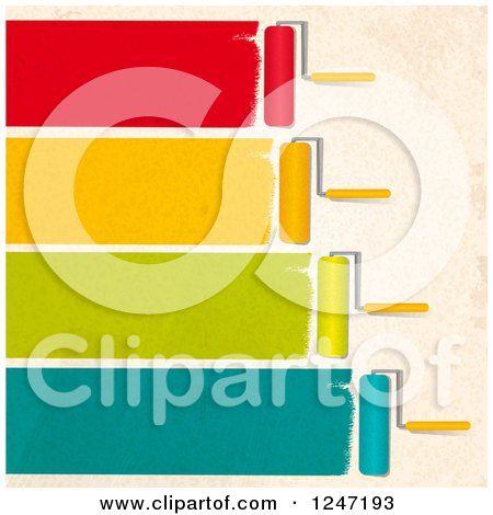 Clipart of Roller Brushes Painting Colorful Strokes on a Beige Wall - Royalty Free Vector Illustration by elaineitalia