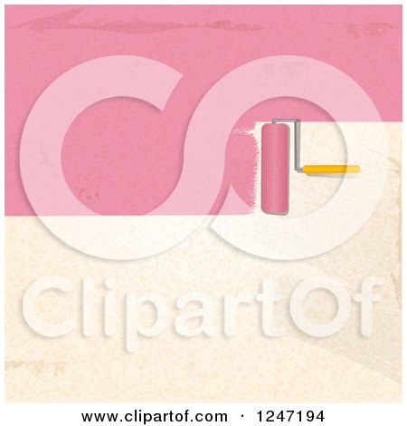 Clipart of a Roller Brush Painting Pink Strokes on a Beige Wall - Royalty Free Vector Illustration by elaineitalia
