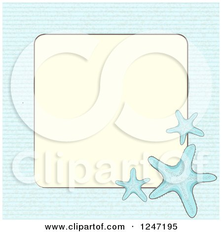 Clipart of a Blue Background with Starfish Around a Frame with Text Space - Royalty Free Vector Illustration by elaineitalia