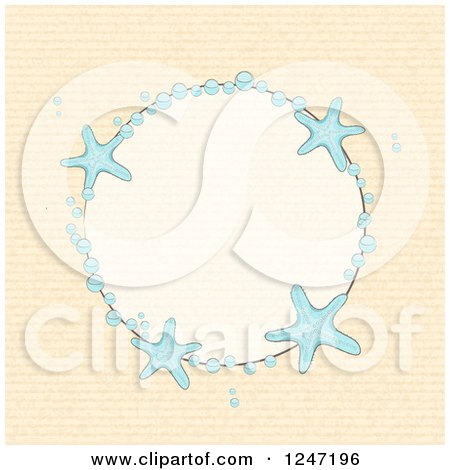 Clipart of a Round Bubble and Starfish Border with Beige - Royalty Free Vector Illustration by elaineitalia