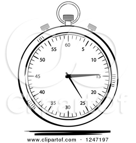 Clipart of a Black and White Sketched Stop Watch - Royalty Free Vector Illustration by elaineitalia