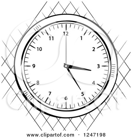 Clipart of a Black and White Sketched Stop Watch over a Net - Royalty Free Vector Illustration by elaineitalia