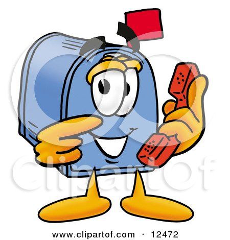 Blue Postal Mailbox Cartoon Character Holding a Telephone Posters, Art Prints
