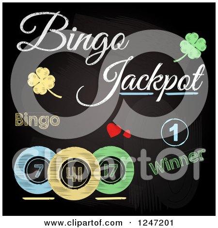 Clipart of Sketched Bingo Jackpot Winner Text, Shamrocks and Balls on a Black Board - Royalty Free Vector Illustration by elaineitalia
