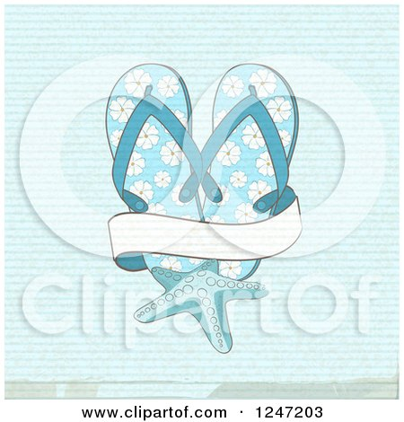 Clipart of a Distressed Blue Background with Flip Flops a Starfish and a Banner - Royalty Free Vector Illustration by elaineitalia