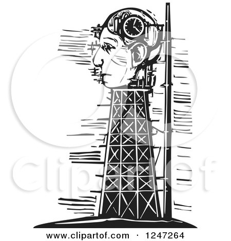 Clipart of a Black and White Woodcut Tower and Head Clock Under Construction - Royalty Free Vector Illustration by xunantunich