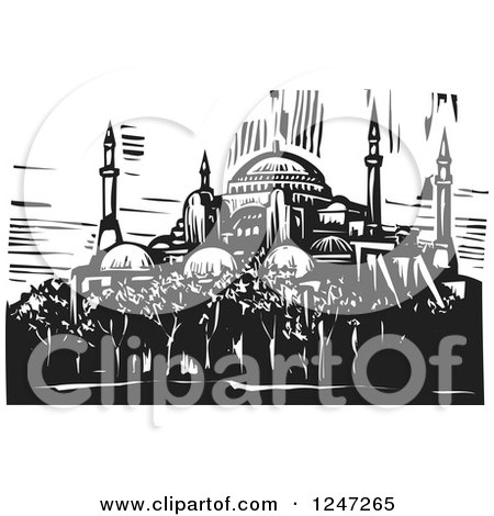 Clipart of a Black and White Woodcut of Hagia Sophia in Istanbul - Royalty Free Vector Illustration by xunantunich
