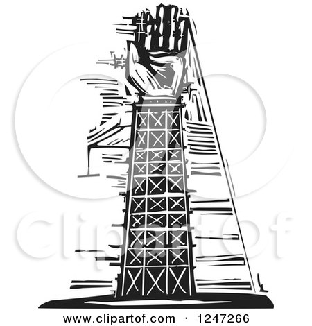 Clipart of a Black and White Woodcut Tower and Arm Under Construction - Royalty Free Vector Illustration by xunantunich