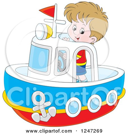 Clipart of a Happy Boy Steering a Boat - Royalty Free Vector Illustration by Alex Bannykh