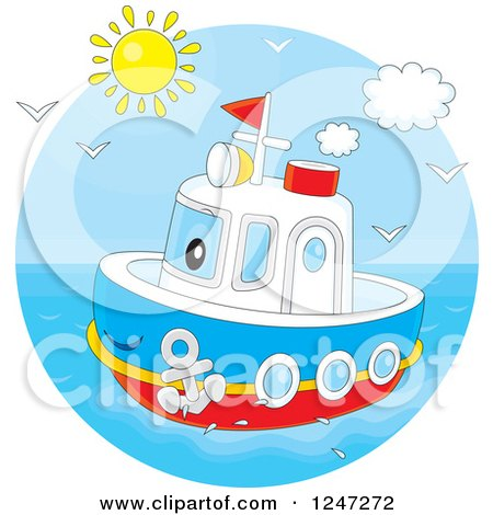Clipart of a Happy Tug Boat at Sea - Royalty Free Vector Illustration by Alex Bannykh