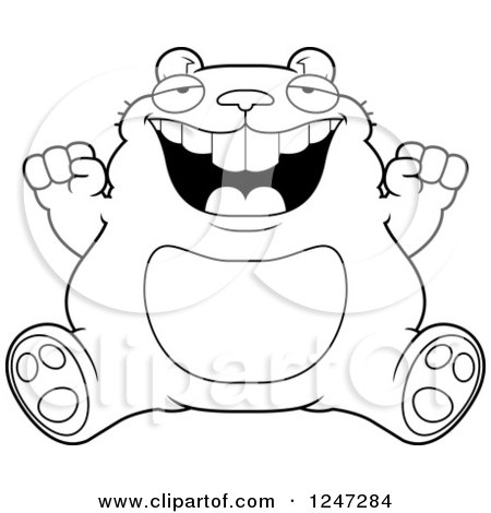 Clipart of a Fat Hamster Sitting and Cheering - Royalty Free Vector Illustration by Cory Thoman