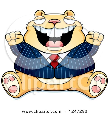Clipart of a Fat Business Hamster Sitting and Cheering - Royalty Free Vector Illustration by Cory Thoman