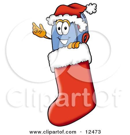 Blue Postal Mailbox Cartoon Character Wearing a Santa Hat Inside a Red Christmas Stocking Posters, Art Prints