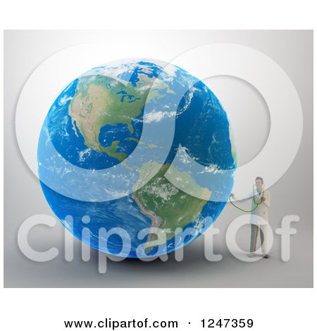 Clipart of a 3d Male Doctor Examining Earth - Royalty Free Illustration by Mopic