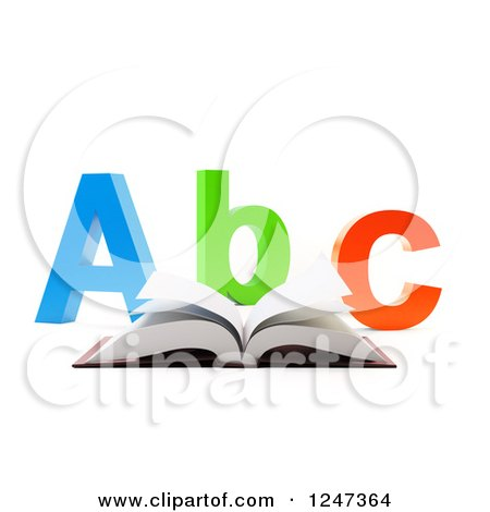 Clipart of a 3d Open Book and Abc Letters on White - Royalty Free Illustration by Mopic