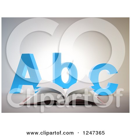Clipart of a 3d Open Book and Abc Letters - Royalty Free Illustration by Mopic