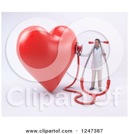 Clipart of a 3d Male Doctor Listening to a Giant Heart with a Stethoscope - Royalty Free Illustration by Mopic