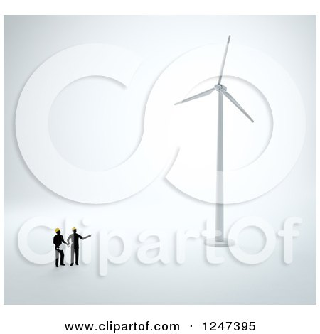 Clipart of 3d Engineers Looking up at a Wind Turbine - Royalty Free Illustration by Mopic
