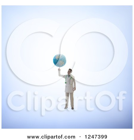 Clipart of a 3d Male Doctor Spinning Earth on His Finger - Royalty Free Illustration by Mopic