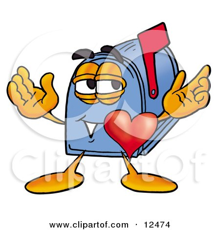 Blue Postal Mailbox Cartoon Character With His Heart Beating Out of His Chest Posters, Art Prints