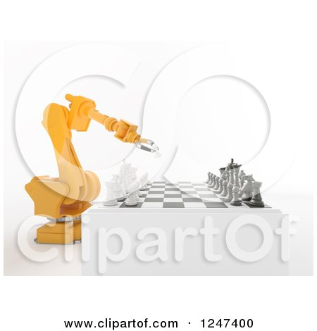 Clipart of a 3d Orange Robotic Arm Playing Chess - Royalty Free Illustration by Mopic