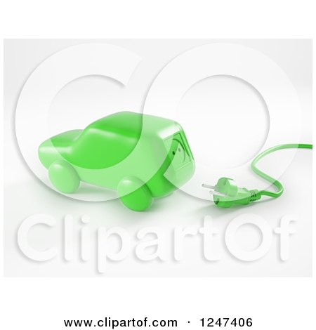Clipart of a 3d Green Electric Car and Plug - Royalty Free Illustration by Mopic
